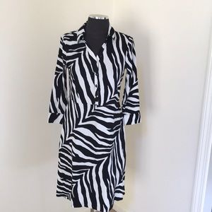Talbots MP white/Black Button Down Dress